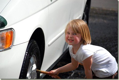 anna washing car