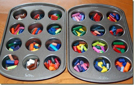 crayons in tins